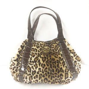 Dennis Basso Faux Fur Cheetah Handbag Vegan Croc